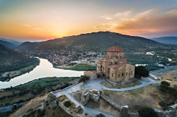 Sighnaghi and Caucasus Mountains