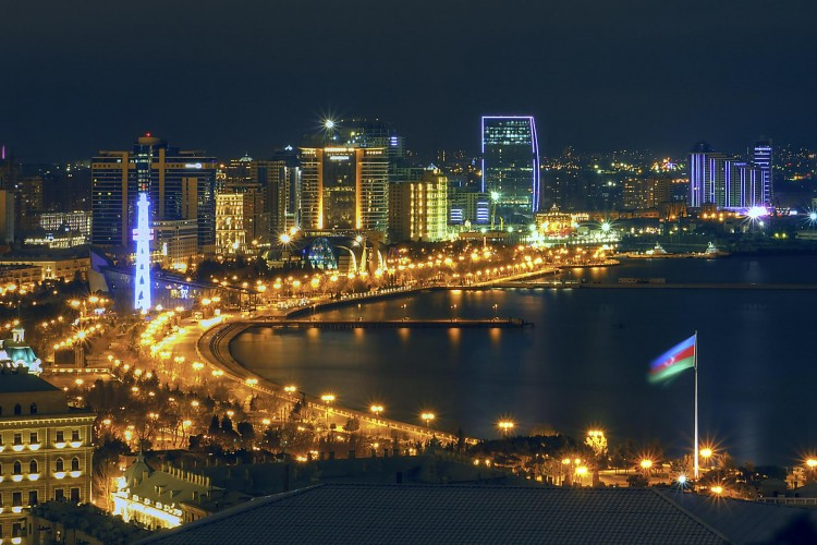 Baku Bay night view